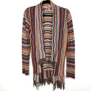 Gimmicks by BKE Fringe Flyaway Knit Cardigan XS